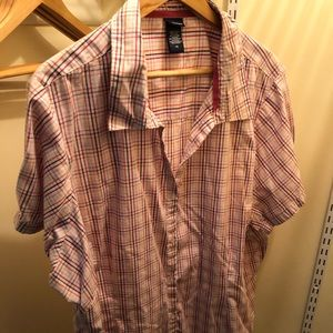 Basic editions 4x button up shirt pink plaid